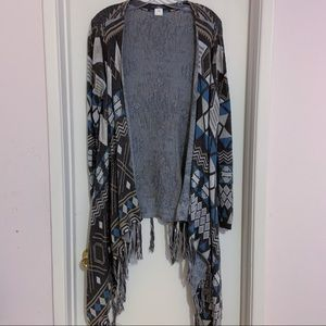 Sun and Shadow Fringe Duster Cardigan